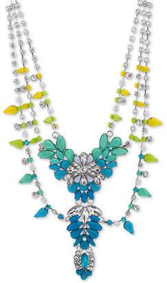 """Steve Madden Silver-Tone Crystal & Stone Flower 19"""" Statement Necklace"""