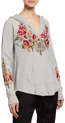Johnny Was Axton Thermal Pullover Hoodie with Embroidery