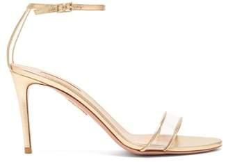Aquazzura Minimalist 85 Leather Sandals - Womens - Gold
