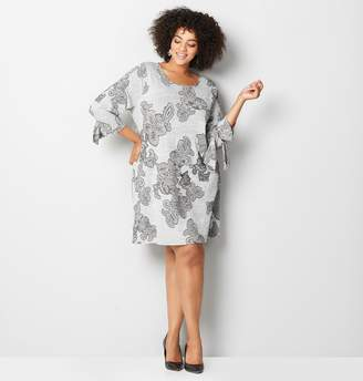 Avenue Floral Puff Hacci A-line Dress