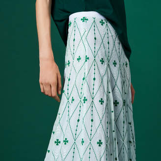 Sandro Long skirt with all-over embroidery