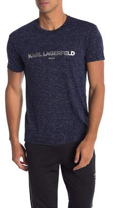 Karl Lagerfeld KL Paris Foil Logo Heathered Crew Neck Tee