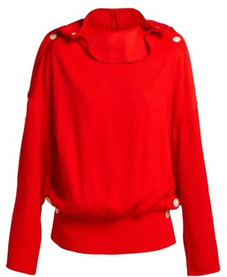 Awake Button Trim Ribbed Top - Womens - Red