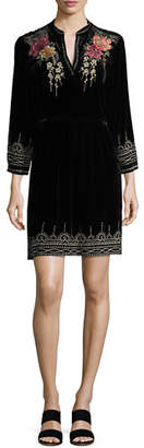 Johnny Was Flores 3/4-Sleeve Boho Velvet Dress w/ Floral Embroidery