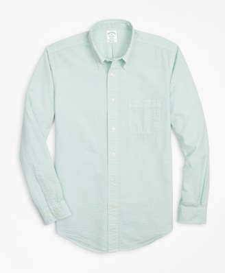 Brooks Brothers Milano Fit Garment-Dyed Seersucker Sport Shirt