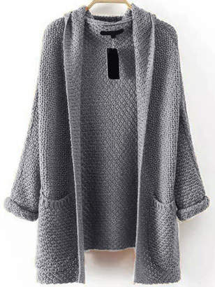 Shein Pocket Front Textured Hooded Sweater Coat