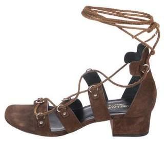 Saint Laurent Suede Wrap-Tie Sandals
