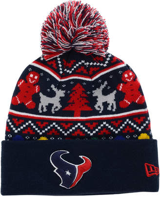 New Era Houston Texans Christmas Sweater Pom Knit Hat