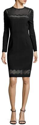 Elie Tahari Women's Candice Crepe Lace Trim Dress