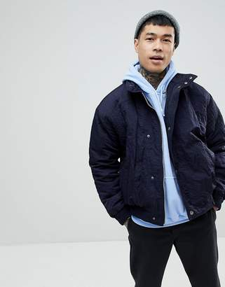 Asos Padded Track Jacket In Navy