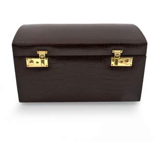 Bey-Berk Bey Berk Crocodile Leather Jewelry Chest & Travel Case Set