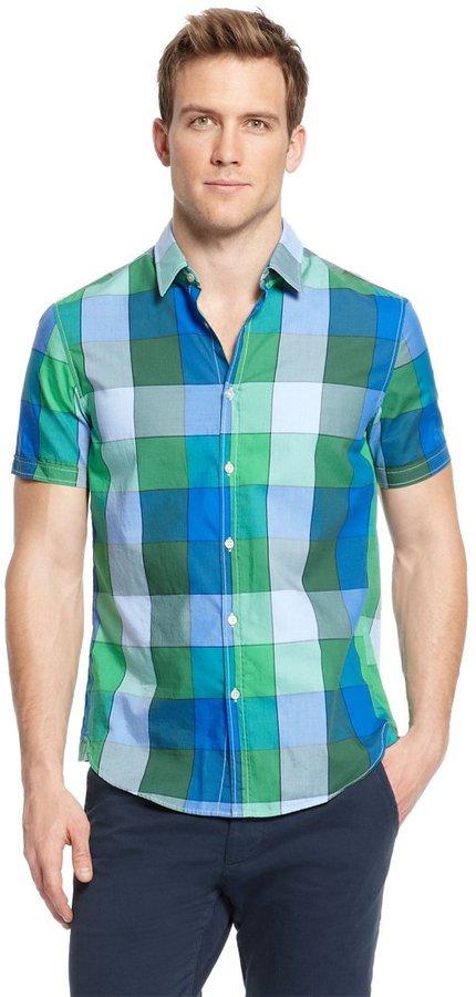 HUGO BOSS 'Bastiano' | Regular Fit, Cotton Check Button Down Shirt by BOSS Green
