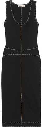 McQ Alexander McQueen - Stretch-knit Midi Dress - Black $450 thestylecure.com