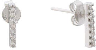 Made In Spain 14k White Gold Diamond Bar Earrings