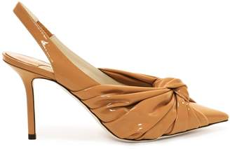bb2e29f1d88d Jimmy Choo ANNABELL 85 Caramel Soft Patent Leather Sling Back Closed Toe  Pumps