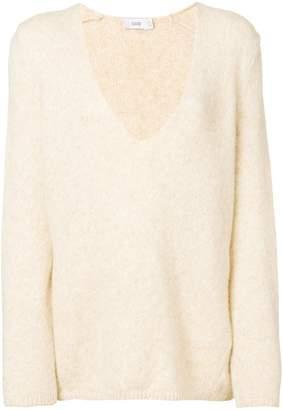 Closed deep V-neck brushed sweater
