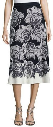 St. John Collection Nadia Rose-Print Flared Midi Skirt, Frost/Navy $995 thestylecure.com