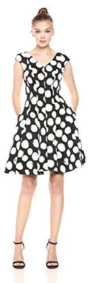 Julia Jordan Women's V Neck Extended Shoulder Polka Dot Fitflare
