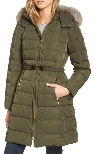 Women's Kate Spade New York Water-Resistant Quilted Down Coat With Detachable Faux Fur Trimmed Hood