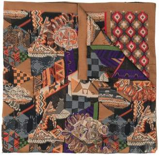 Etro African Mask Print scarf