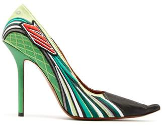 Vetements Racer Embroidered Point Toe Pumps - Womens - Green Multi