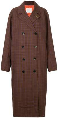 Tibi Check Oversized trench coat