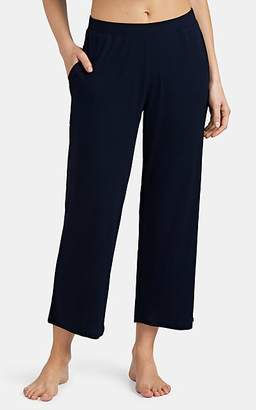 Skin Women's Noelle Ribbed Stretch-Cotton Crop Pajama Pants - Navy