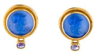 Elizabeth Locke 18K Glass & Tanzanite Cameo Earrings