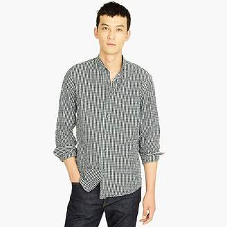 J.Crew Tall stretch Secret Wash band-collar shirt in brown-and-navy gingham