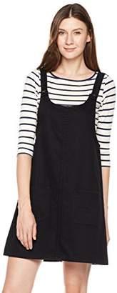 Parker Lily Women's Junior Classic Denim Bib Overall Dress with Pocket (