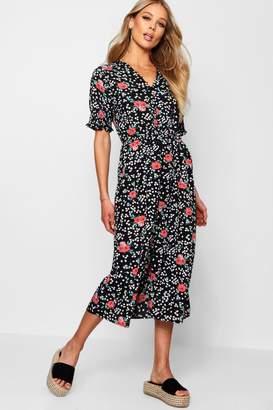 boohoo Ditsy Floral Button Midi Tea Dress