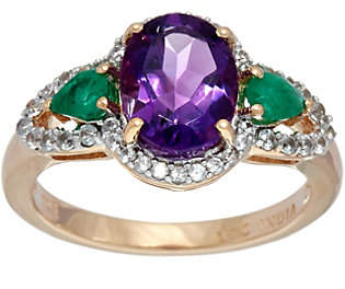 QVC Oval Amethyst & Pear Emerald White Zircon RingSterling, 2.00