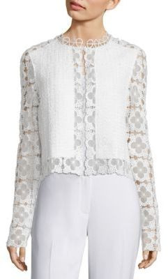 Elie Tahari Annabella Tweed & Lace Jacket $398 thestylecure.com