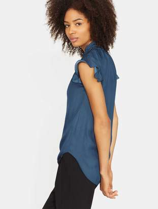 Halston Flutter Sleeve Smocked High Neck Top