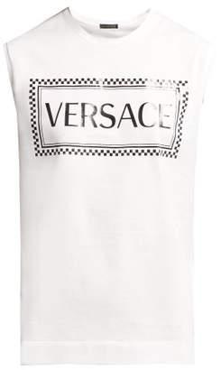 Versace Logo Printed Cotton Tank Top - Womens - White Black