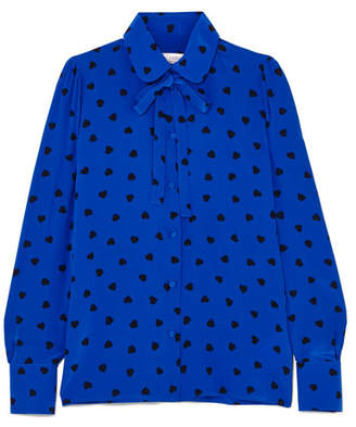 Valentino Pussy-bow Printed Silk Blouse - Blue