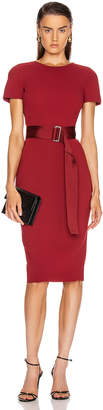 Victoria Beckham Belted T Shirt Fitted Dress in Burgundy | FWRD