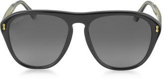 Gucci GG0128S 007 Black Acetate Aviator Men's Sunglasses