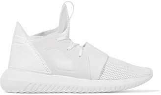 adidas Originals - Tubular Defiant Faux Leather-trimmed Stretch-knit Sneakers - White $110 thestylecure.com