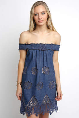 Sky Off Shoulder Cutwork Mini Dress