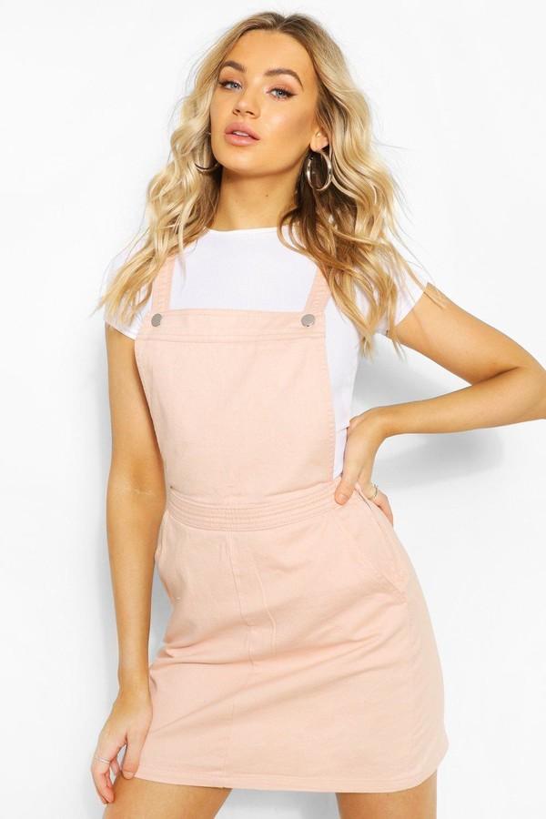 boohoo Emily Nude Denim Pinafore Dress