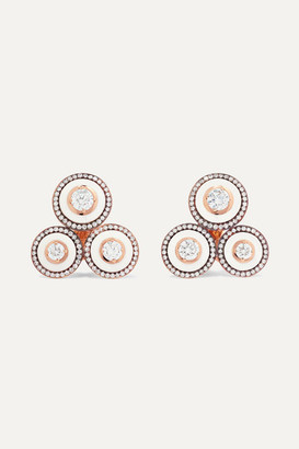 Selim Mouzannar 18-karat Rose Gold, Enamel And Diamond Clip-on Earrings