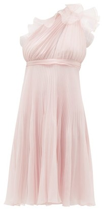 Giambattista Valli Ruffle Trimmed Pleated One Shoulder Silk Dress - Womens - Light Pink