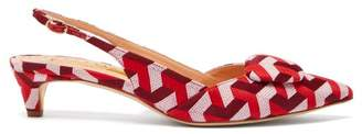 Rupert Sanderson Misty Geometric Jacquard Kitten Heels - Womens - Red Multi