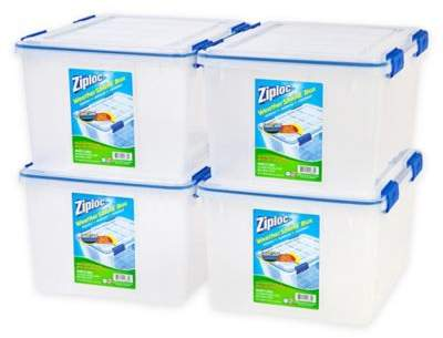 Iris USA Ziploc® WeatherShield 44 qt. Storage Boxes in Clear (Set of 4)
