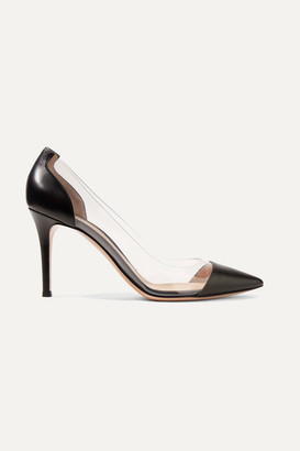 Gianvito Rossi Plexi 85 Leather And Pvc Pumps - Black