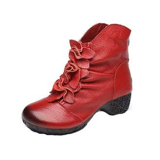 45e8c32d2da GIY Women s Winter Flowers Ankle Boots Leather Zipper Low Heel Comfy Bootie  Retro Floral Dress Short