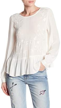 Lucky Brand Embroidered Peplum Blouse