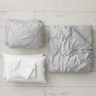 Pottery Barn Teen Ruched Diamond Organic Duvet Set, Queen, Light Gray