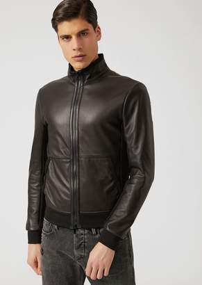 Emporio Armani Jacket In Glove Nappa With Jersey Hem And Cuffs